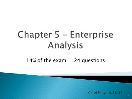 14% of the exam 24 questions 1 Carol Pattyn 6/18/13.