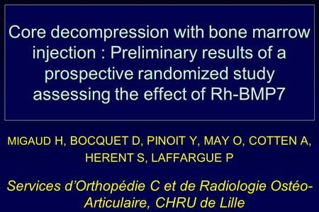 Core decompression with bone marrow injection : Preliminary results of a prospective randomized study assessing the effect of Rh-BMP7 MIGAUD MIGAUD H,