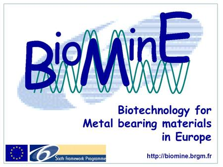 Biotechnology for Metal bearing materials in Europe