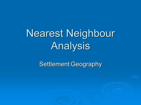 neighbors analysis