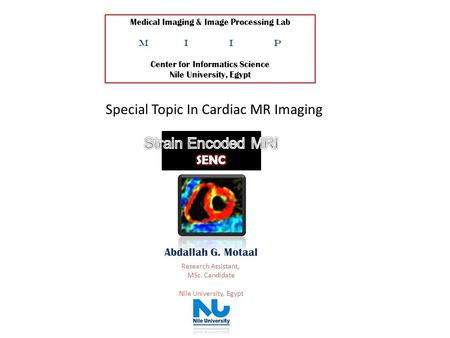 Special Topic In Cardiac MR Imaging Medical Imaging & Image Processing Lab MIIP Center for Informatics Science Nile University, Egypt Abdallah G. Motaal.