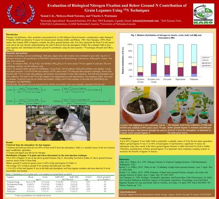 Evaluation of Biological Nitrogen Fixation and Below Ground N Contribution of Grain Legumes Using 15 N Techniques 1 Kaizzi C.K., 2 Rebecca Hood-Nowotny,