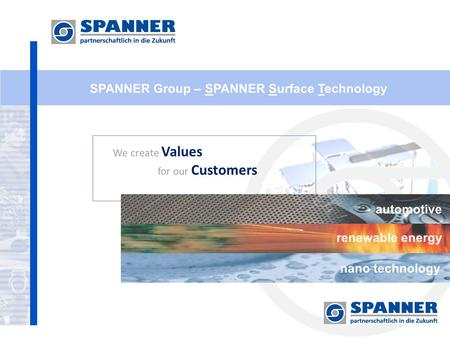 SPANNER Group – SPANNER Surface Technology We create Values for our Customers automotive renewable energy nano technology.