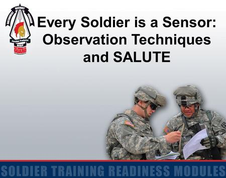 Every Soldier is a Sensor: Observation Techniques and SALUTE.