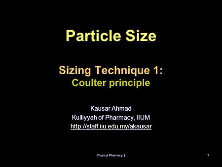 Particle Size Sizing Technique 1: Coulter principle