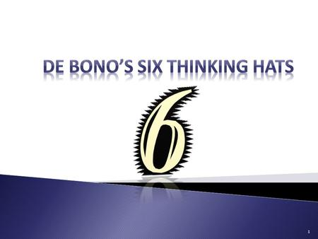 1. In the 1980s Dr. Edward de Bono invented a method of thinking he called the Six Thinking Hats. Edward de Bono is regarded by many as the leading authority.