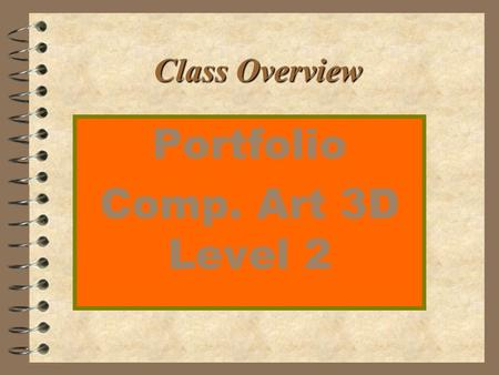 Class Overview Portfolio Comp. Art 3D Level 2. Mrs. Goepper, Instructor 4 1999 P.H.S. Teacher of the Year 4 1999 P.T.S.A. Humanitarian award 4 1994 P.H.S.