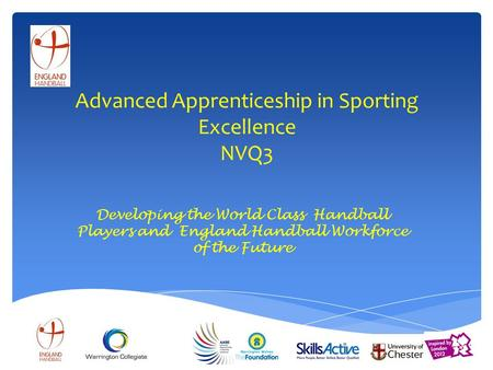 Advanced Apprenticeship in Sporting Excellence NVQ3 Developing the World Class Handball Players and England Handball Workforce of the Future.