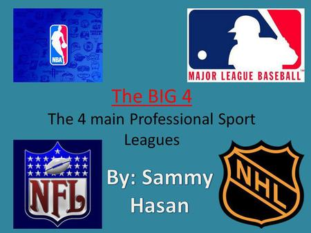 The BIG 4 The 4 main Professional Sport Leagues. Commissioner: Roger Goodell 16 Game Season Football is played during the Fall season and finishing in.