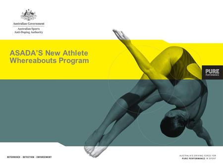 ASADAS New Athlete Whereabouts Program. Content 1.Context 2.ASADAs whereabouts requirements 3. Who has to provide Athlete Whereabouts Information 4.Methods.