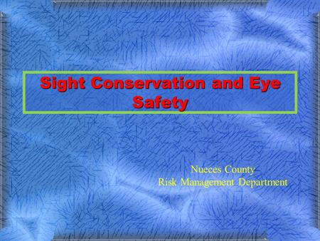 Sight Conservation and Eye Safety Nueces County Risk Management Department.
