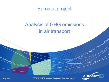 May 2011 TFEIP-EIONET Meeting Stockholm Transport panel 1 Eurostat project Analysis of GHG emissions in air transport.