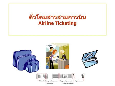 Airline Ticketing. Passenger Ticket and Baggage Check.
