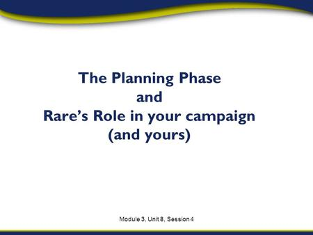 Module 3, Unit 8, Session 4 The Planning Phase and Rares Role in your campaign (and yours)