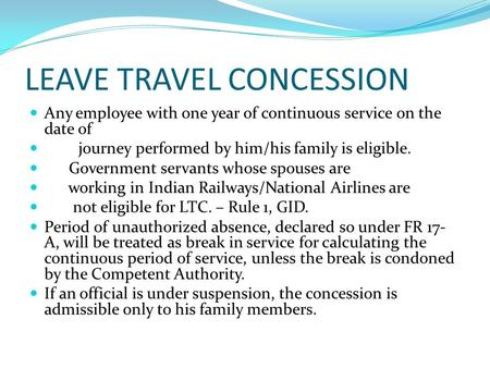 LEAVE TRAVEL CONCESSION