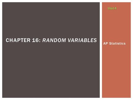 Chapter 16: Random Variables