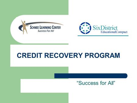 CREDIT RECOVERY PROGRAM Success for All. What is Credit Recovery? Offers courses delivered in half-credit segments Provides credit recovery for students.