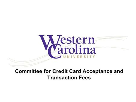 Committee for Credit Card Acceptance and Transaction Fees.