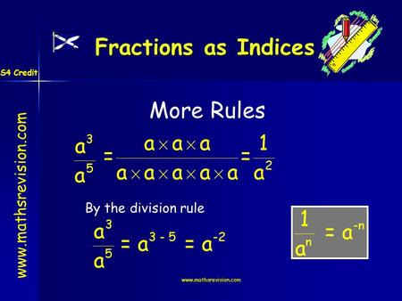Www.mathsrevision.com More Rules By the division rule Fractions as Indices S4 Credit.