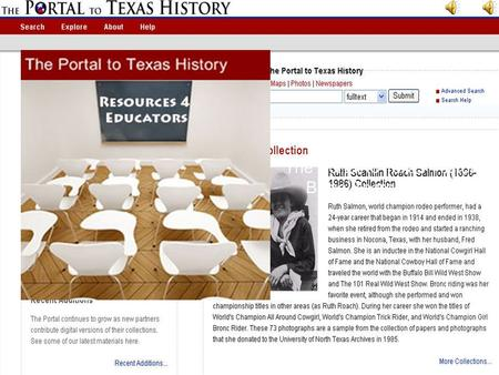 The Portal to Texas History Basic Search Tutorial Click to Begin.