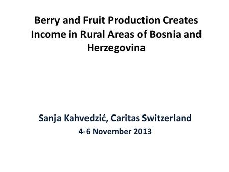Berry and Fruit Production Creates Income in Rural Areas of Bosnia and Herzegovina Sanja Kahvedzić, Caritas Switzerland 4-6 November 2013.