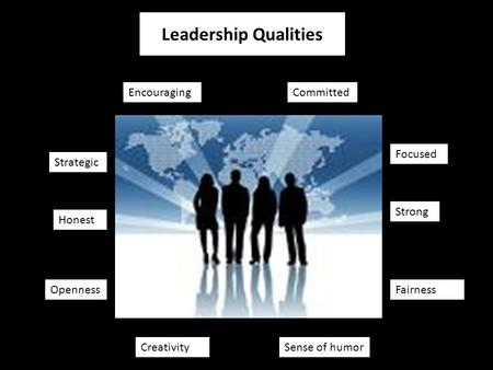 Honest Strong Committed Strategic Focused Encouraging Leadership Qualities Fairness Sense of humorCreativity Openness.