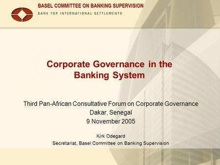 Corporate Governance in the Banking System