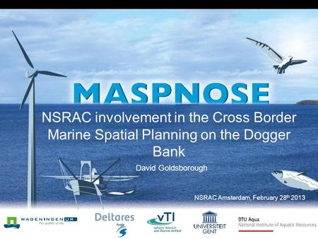 NSRAC involvement in the Cross Border Marine Spatial Planning on the Dogger Bank David Goldsborough NSRAC Amsterdam, February 28 th 2013.