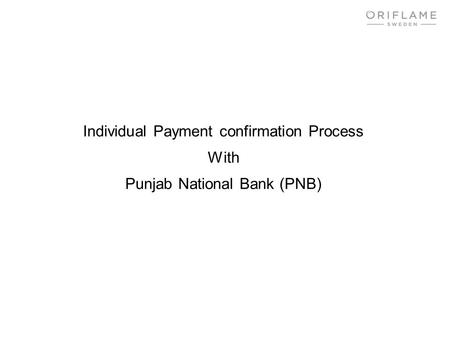 Individual Payment confirmation Process With
