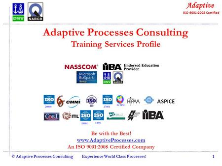 Quality Consulting © Adaptive Processes ConsultingExperience World Class Processes!1 Adaptive Processes Consulting Training Services Profile Be with the.