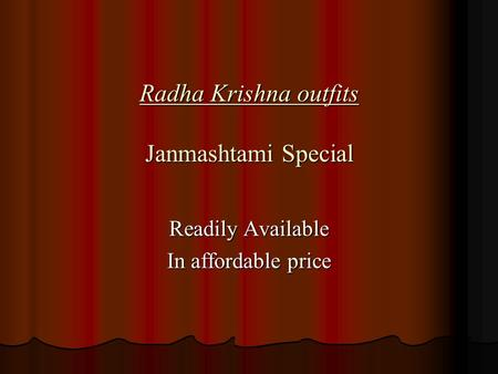 Radha Krishna outfits Janmashtami Special Readily Available In affordable price.