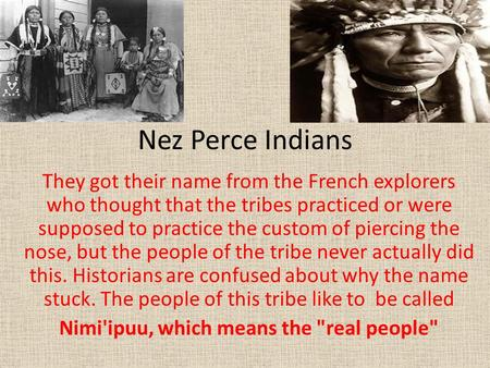 Nez Perce Indians They got their name from the French explorers who thought that the tribes practiced or were supposed to practice the custom of piercing.