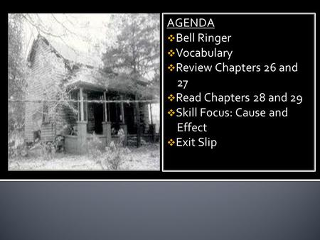 AGENDA Bell Ringer Vocabulary Review Chapters 26 and 27 Read Chapters 28 and 29 Skill Focus: Cause and Effect Exit Slip AGENDA Bell Ringer Vocabulary Review.