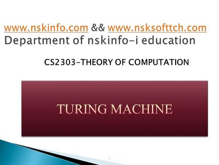 CS2303-THEORY OF COMPUTATION 1. Turing machine is a modified version of the PDA and it is much more powerful than PDA. Instead of using stack as in.