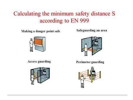 Making a danger point safe Access guarding Perimeter guarding Safeguarding an area Calculating the minimum safety distance S according to EN 999.