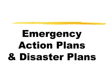 Emergency Action Plans & Disaster Plans. Emergency Action Plans zSimple written plan zUsed to evacuate personnel from a building in an emergency ymedical.