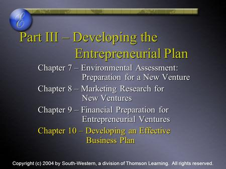 Part III – Developing the Entrepreneurial Plan