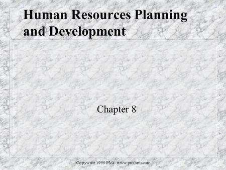 Copywrite 1999 PMi www.pmihrm.com Human Resources Planning and Development Chapter 8.