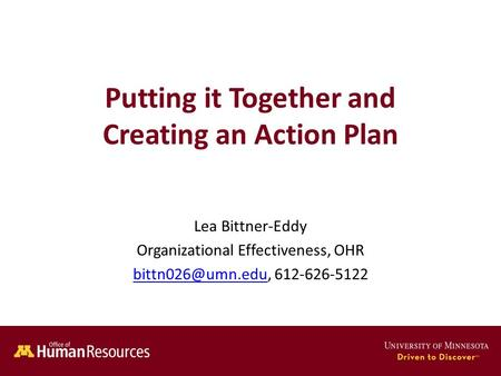 Human Resources Office of Putting it Together and Creating an Action Plan Lea Bittner-Eddy Organizational Effectiveness, OHR