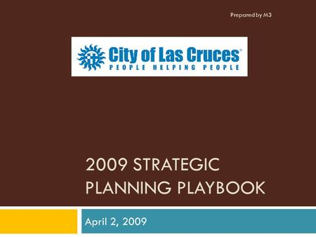2009 STRATEGIC PLANNING PLAYBOOK April 2, 2009 Prepared by M3.