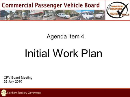 Agenda Item 4 Initial Work Plan CPV Board Meeting 26 July 2010.