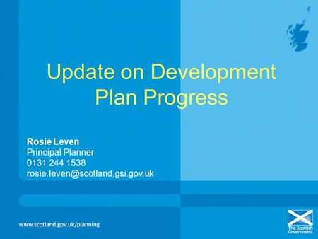 Update on Development Plan Progress Rosie Leven Principal Planner 0131 244 1538