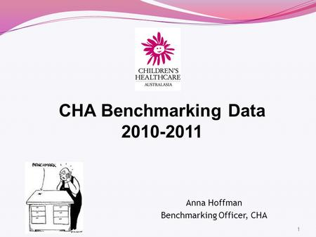 1 CHA Benchmarking Data 2010-2011 Anna Hoffman Benchmarking Officer, CHA.