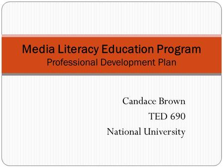 Media Literacy Education Program Professional Development Plan
