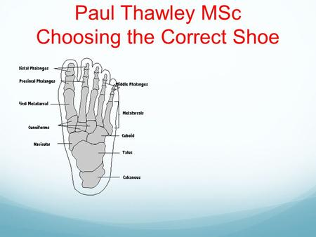 Paul Thawley MSc Choosing the Correct Shoe. Definitions Last: The template or model upon which the shoe is built. Different manufacturers use different.