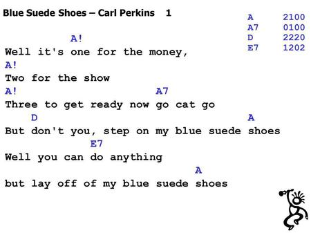 Blue Suede Shoes – Carl Perkins 1 A2100 A70100 D2220 E71202 A! Well it's one for the money, A! Two for the show A! A7 Three to get ready now go cat go.