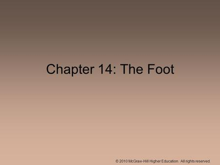 © 2010 McGraw-Hill Higher Education. All rights reserved. Chapter 14: The Foot.