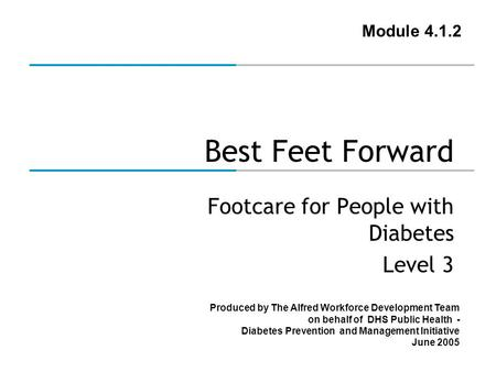 Produced by The Alfred Workforce Development Team on behalf of DHS Public Health - Diabetes Prevention and Management Initiative June 2005 Best Feet Forward.