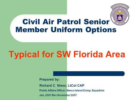 Civil Air Patrol Senior Member Uniform Options