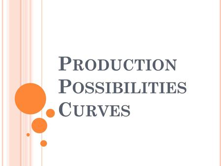 P RODUCTION P OSSIBILITIES C URVES. P RODUCTION P OSSIBILITIES Production Possibilities Curve- (graph) shows alternative ways to use an economys productive.